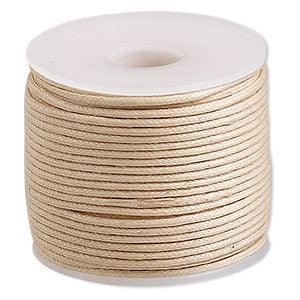 Cord, Cotton Wax 1mm - Natural - PoCo Inspired