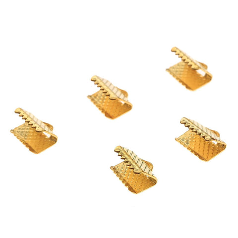 Ribbon End - 10 pc Gold 8x8mm - PoCo Inspired