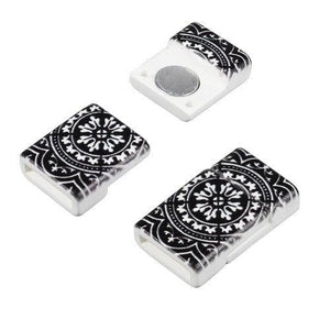 Magnet Clasp, Acrylic Floral Tile - 10mm Flat - PoCo Inspired