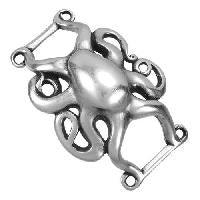 Slider, Octopus - 10mm flat Antique Silver - PoCo Inspired