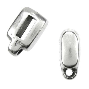 Slider, Charm Holder - 5mm Flat Antique Silver - PoCo Inspired