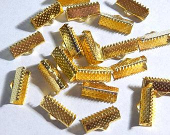 Ribbon End - 10 pc Gold 13x7mm - PoCo Inspired