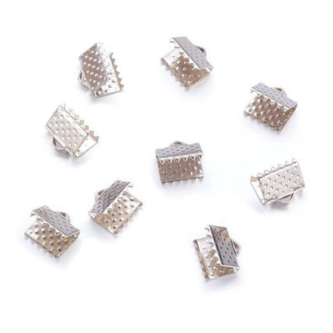 Ribbon End - 10 pc Silver 8x8mm - PoCo Inspired