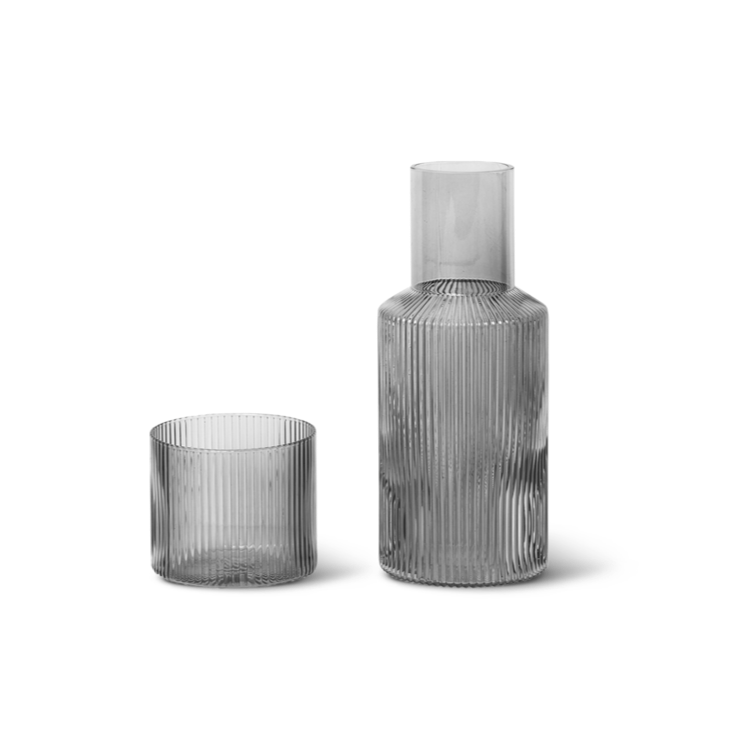 FERM LIVING | Ripple Small Carafe Set | Smoked Grey