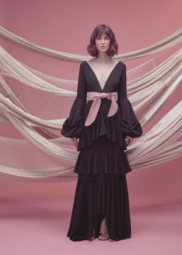 PIMIENTA DRESS IN BLACK WITH ROSE PINK BELT