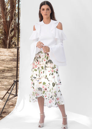 ANABELLA SKIRT IN WHITE CAMALEON PRINT