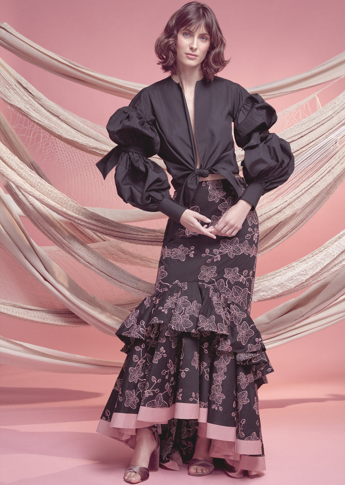 FLORA SKIRT IN BLACK WITH PINK ORCHID EMBROIDERY