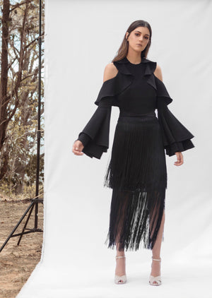 Load image into Gallery viewer, MIRAMAR SKIRT IN BLACK
