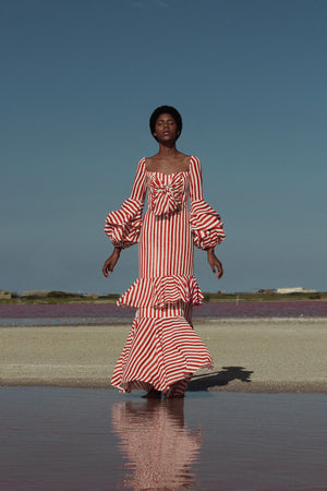 NUDO DRESS IN RED WATERCOLOR STRIPES PRINT