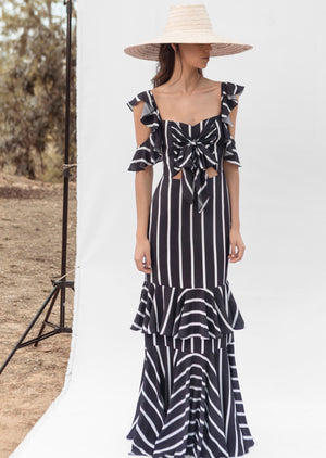 PICAFLOR DRESS IN BLACK AND WHITE STRIPES