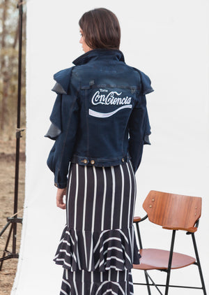 TOMA CONCIENCIA JACKET IN DENIM WITH WHITE EMBROIDERY