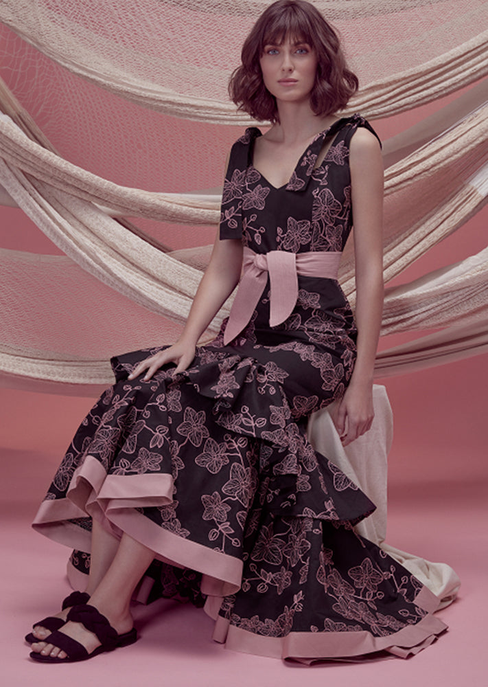 FLORA DRESS IN BLACK WITH PINK EMBROIDERY