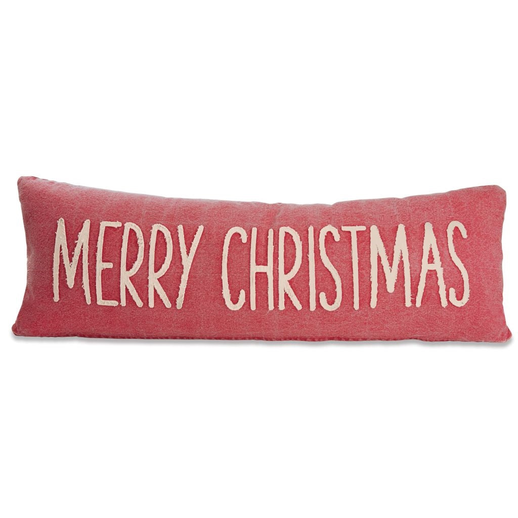 "Add some merriment to any room with this solid red washed canvas pillow featuring a long lumbar shape, contrast washed canvas appliqued sentiment and zippered closure. Removable insert for easy washing. Dimensions: 12"" x 35 1/2"""