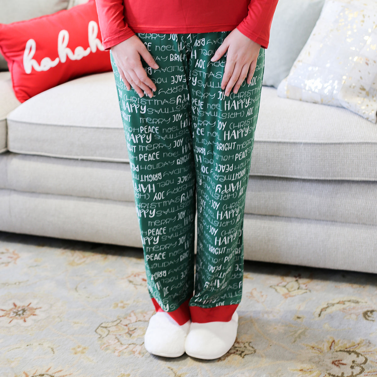 Ho Ho Ho! These Holiday Cheer Sleep Pants are perfect for your Christmas morning and all holiday long.    Material: 95% Polyester, 5% Spandex Runs true to size, model is wearing a size
