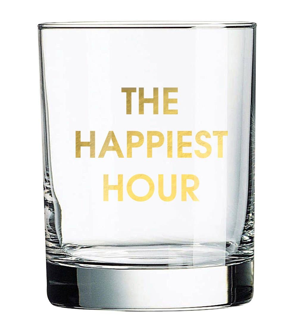 "Crush your cocktail in style with this ""The Happiest Hour"" gold foil rocks glass.  Rocks glasses are printed in Los Angeles. 13.25 oz. American made rocks glass gold foil imprint hand wash only"