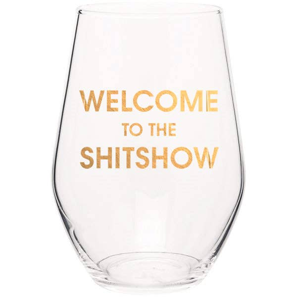 "Crush your wine in style with our ""Welcome to the Shitshow"" gold foil stemless wine glass. Wine glasses are printed in Los Angeles.   19 oz. American made stemless wine glass Gold Foil Imprint Hand wash only"