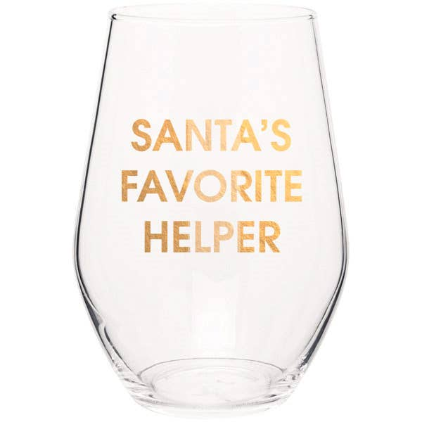 "Crush your wine in style with our ""Santa's Favorite Helper"" gold foil stemless wine glass. Wine glasses are printed in Los Angeles.   19 oz. American made stemless wine glass Gold Foil Imprint Hand wash only"