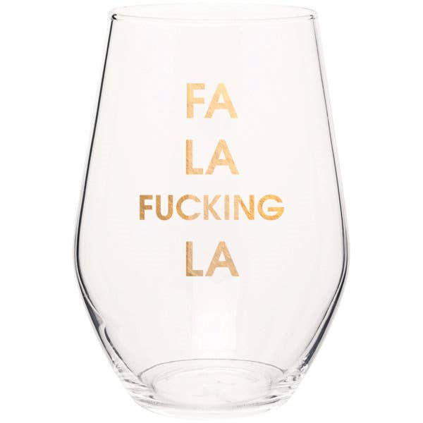 "Crush your wine in style with our ""FA LA F*cking LA"" gold foil stemless wine glass. Wine glasses are printed in Los Angeles.   19 oz. American made stemless wine glass Gold Foil Imprint Hand wash only"
