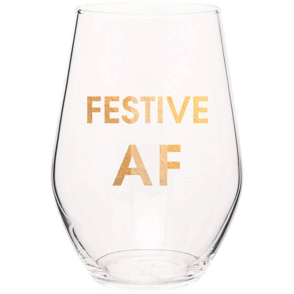 "Crush your wine in style with our ""Festive AF "" gold foil stemless wine glass. Wine glasses are printed in Los Angeles.   19 oz. American made stemless wine glass Gold Foil Imprint Hand wash only"