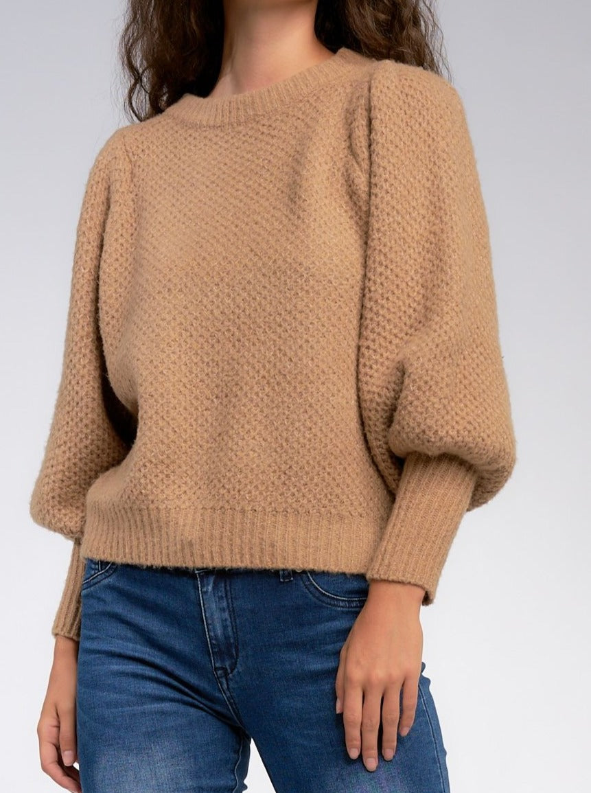 We are absolutely in love with our new Latte All Day Sweater! This sweater is so stylish with its honeycomb knit and puff shoulder sleeves. How cute will you look? This is a must-have this season! Rock it with your favorite skinnies and booties for a great stylish look! Fits true to size, order your normal size Round neck Long puff sleeves Pullover style Honeycomb texture Imported