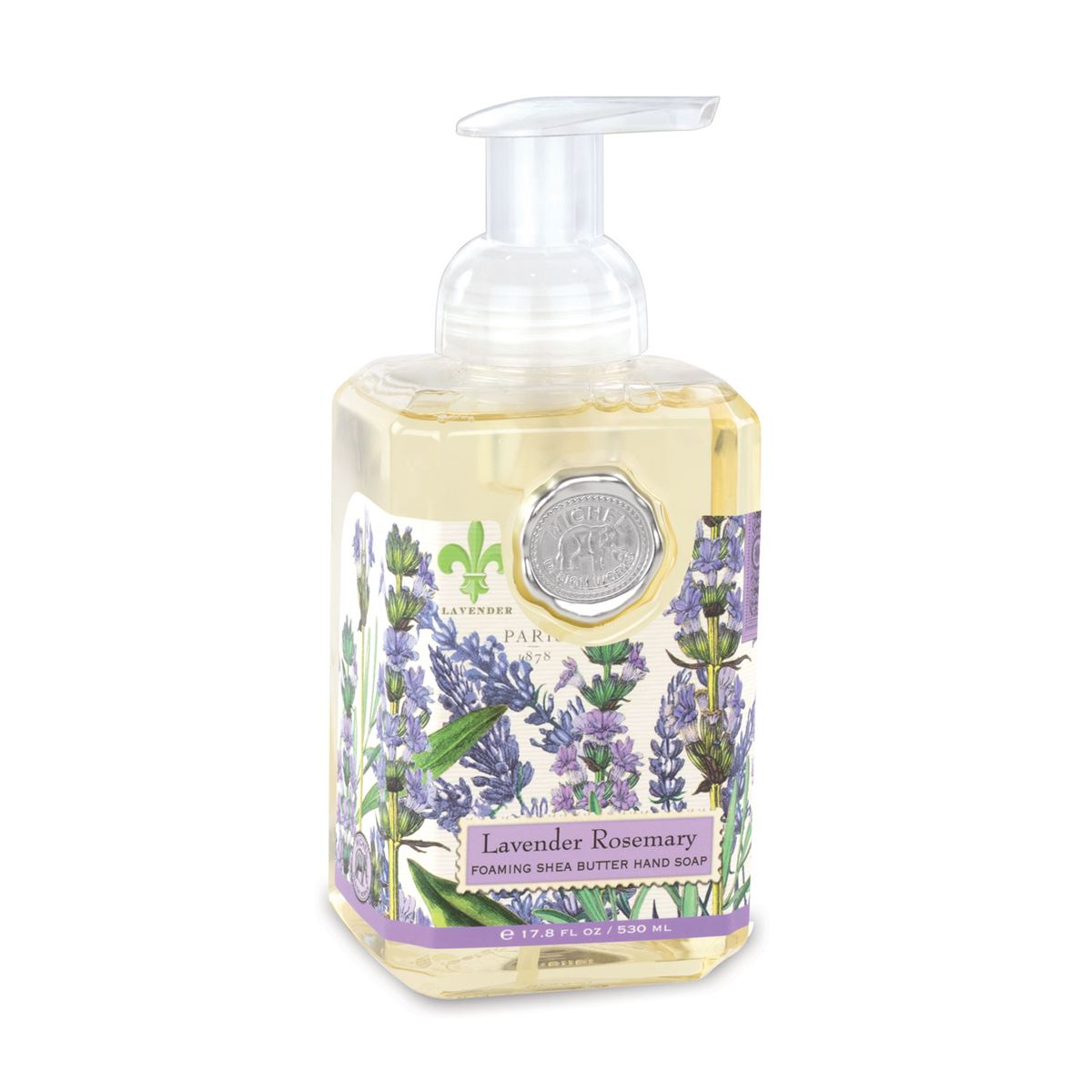 Lavender Rosemary features the distinct scents of lavender and rosemary with a hint of eucalyptus. This generously sized foaming hand soap contains luxurious shea butter and aloe vera for gentle cleansing and moisturizing.