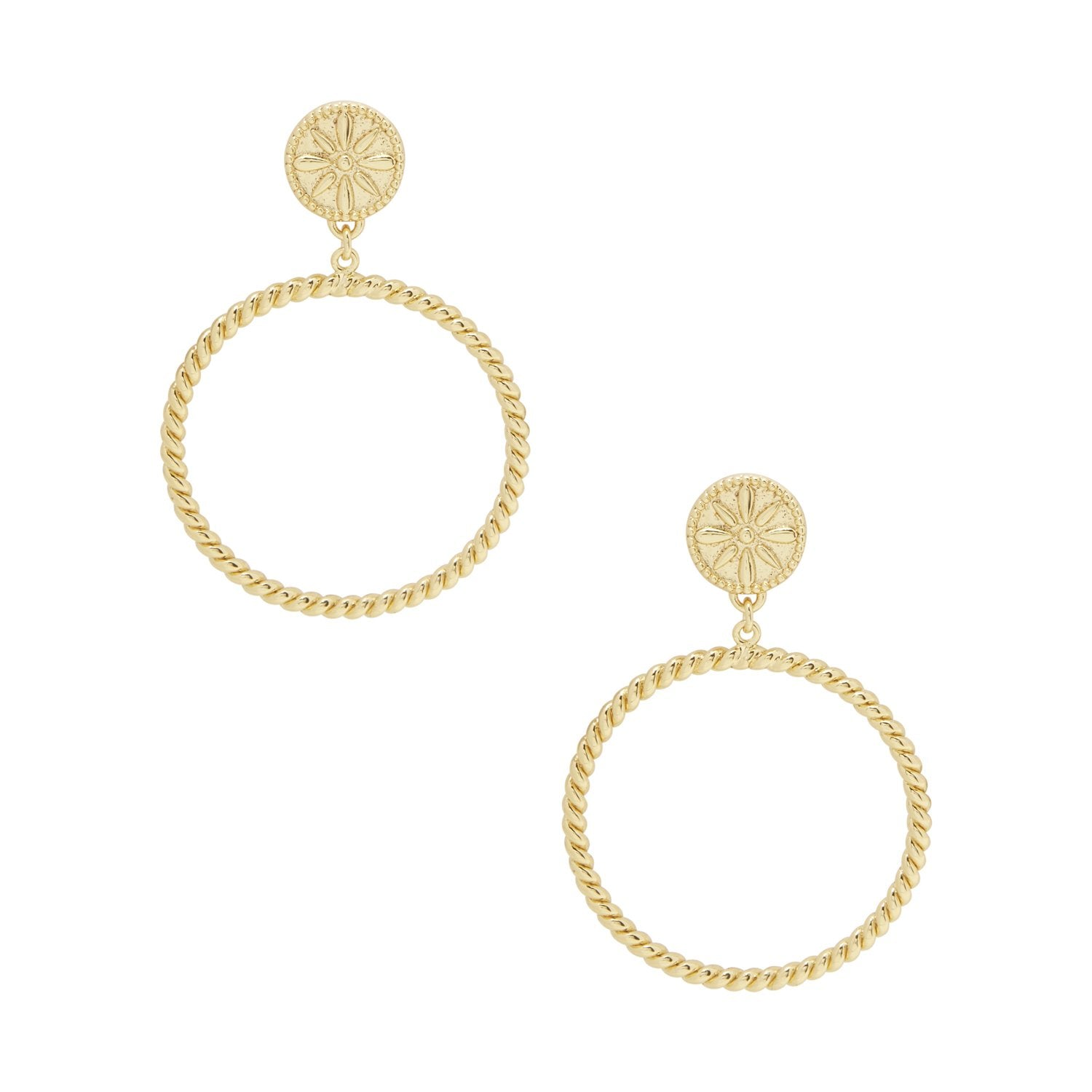 "5/16"" stud diameter 1"" hoop diameter 1 1/2"" Drop Post back 18k gold plated brass Avoid contact with anything containing derivatives of alcohol"