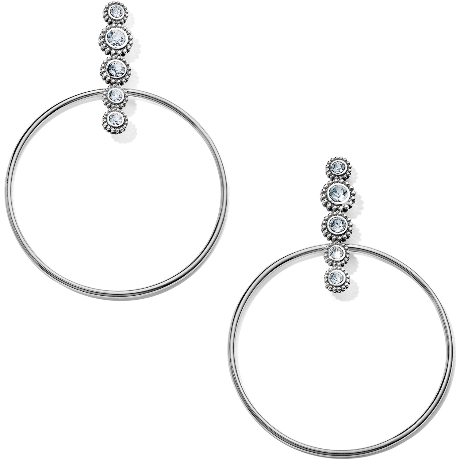 "These Twinkle Post Hoop Earrings from Brighton make a statement, combining modern geometry and subtle sparkle. Width: 1 3/4"" Type: Post with flat disc back Drop: 2"" Material: Swarovski crystal Finish: Silver plated"