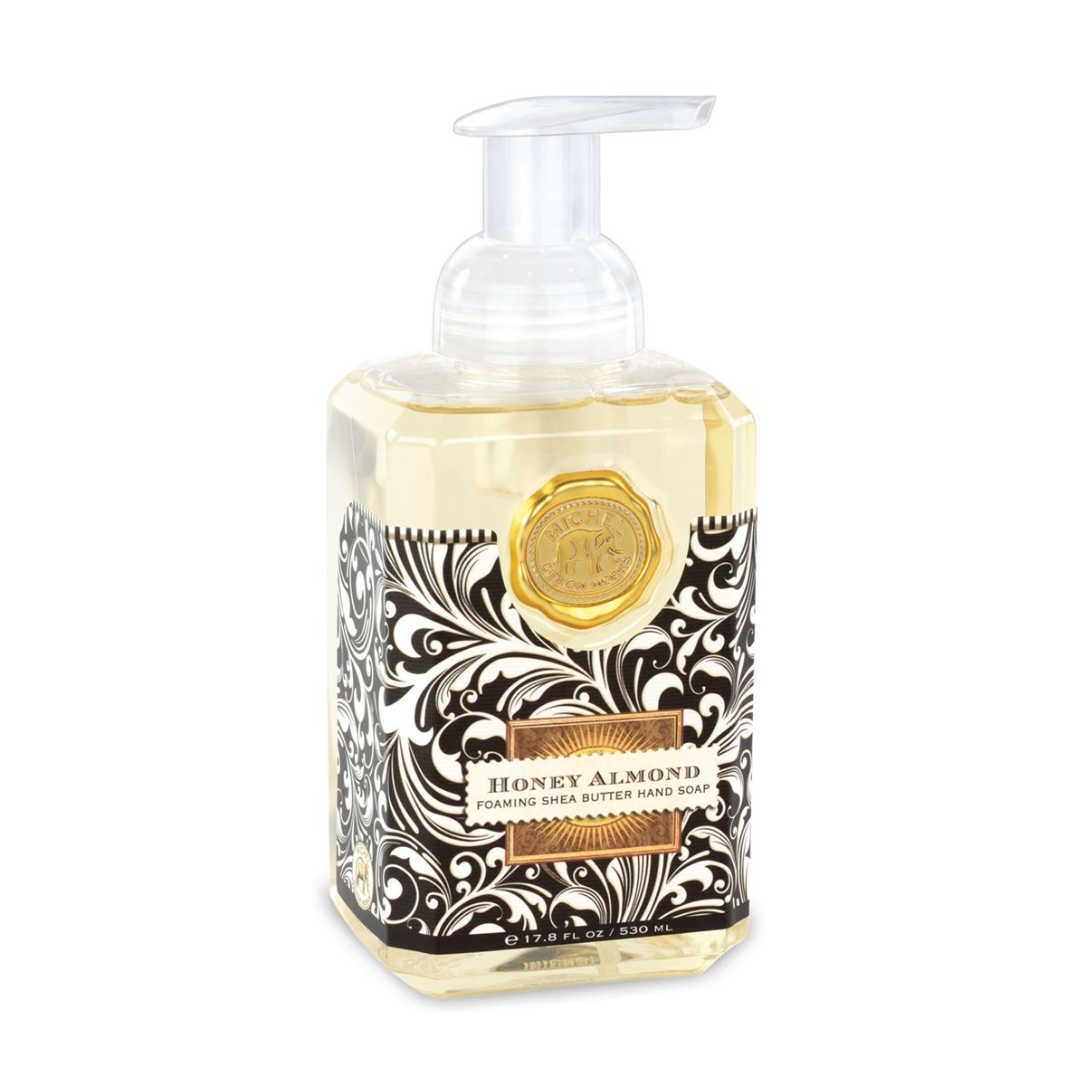The classic Honey Almond scent features sweet almonds muddled with cherry, vanilla, and honey. This generously sized foaming hand soap contains luxurious shea butter and aloe vera for gentle cleansing and moisturizing.