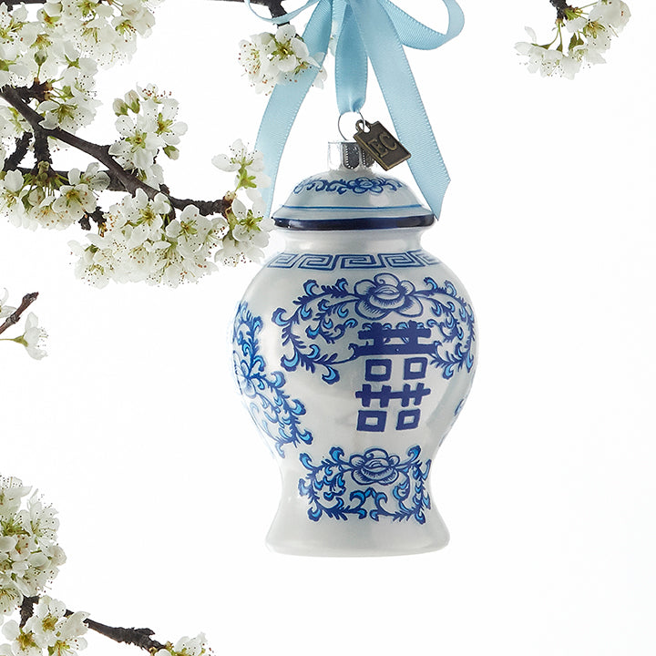 Tiny Ginger Jar Delft Glass Ornament