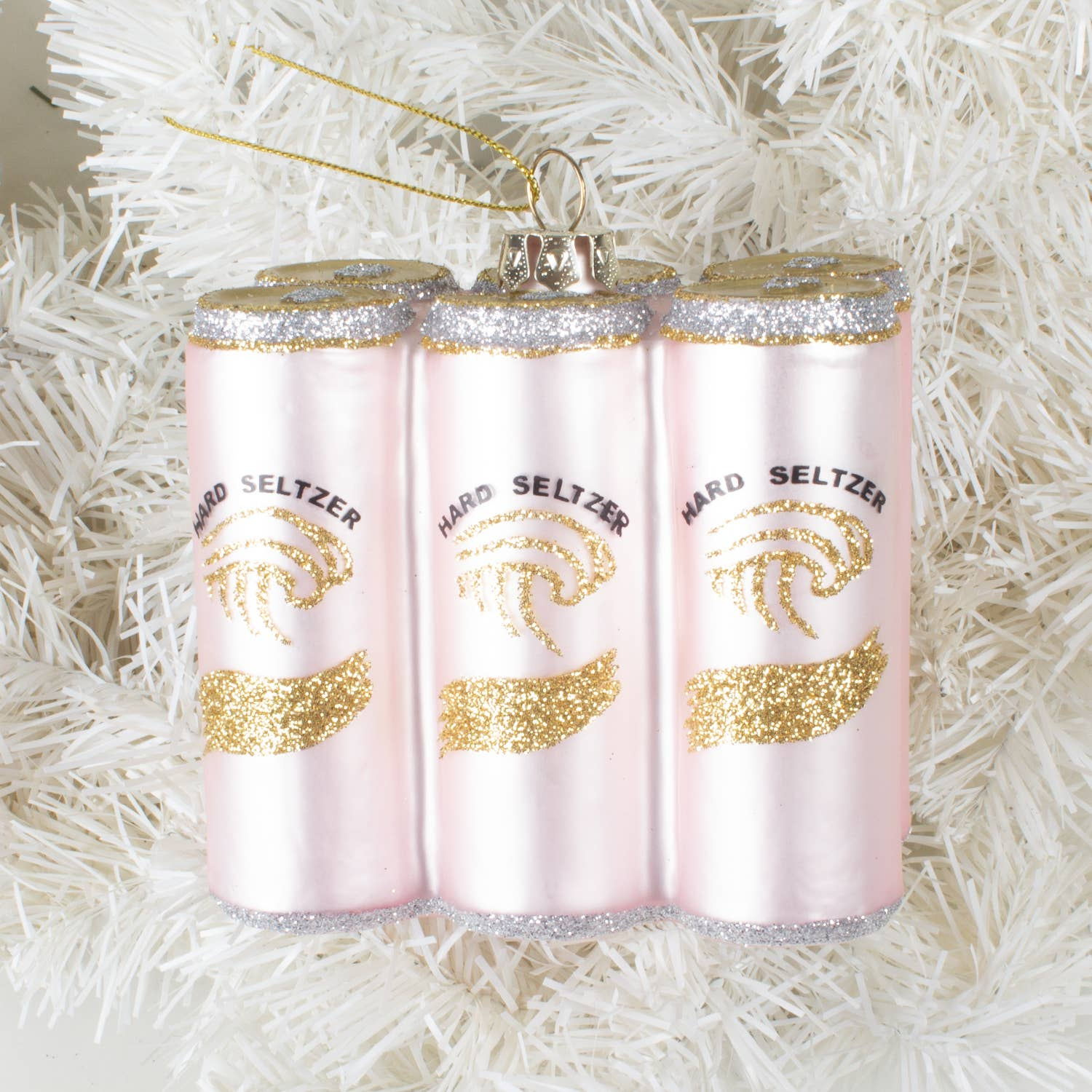 "It's all the rage! Everyone is drinking it! Now, everyone is putting it on their tree! Our hard seltzer six pack is the perfect gift for the millennial on your Christmas list. Made of glass. 6"" X 2.5"" X 2.5"" Comes in retro style gift box."
