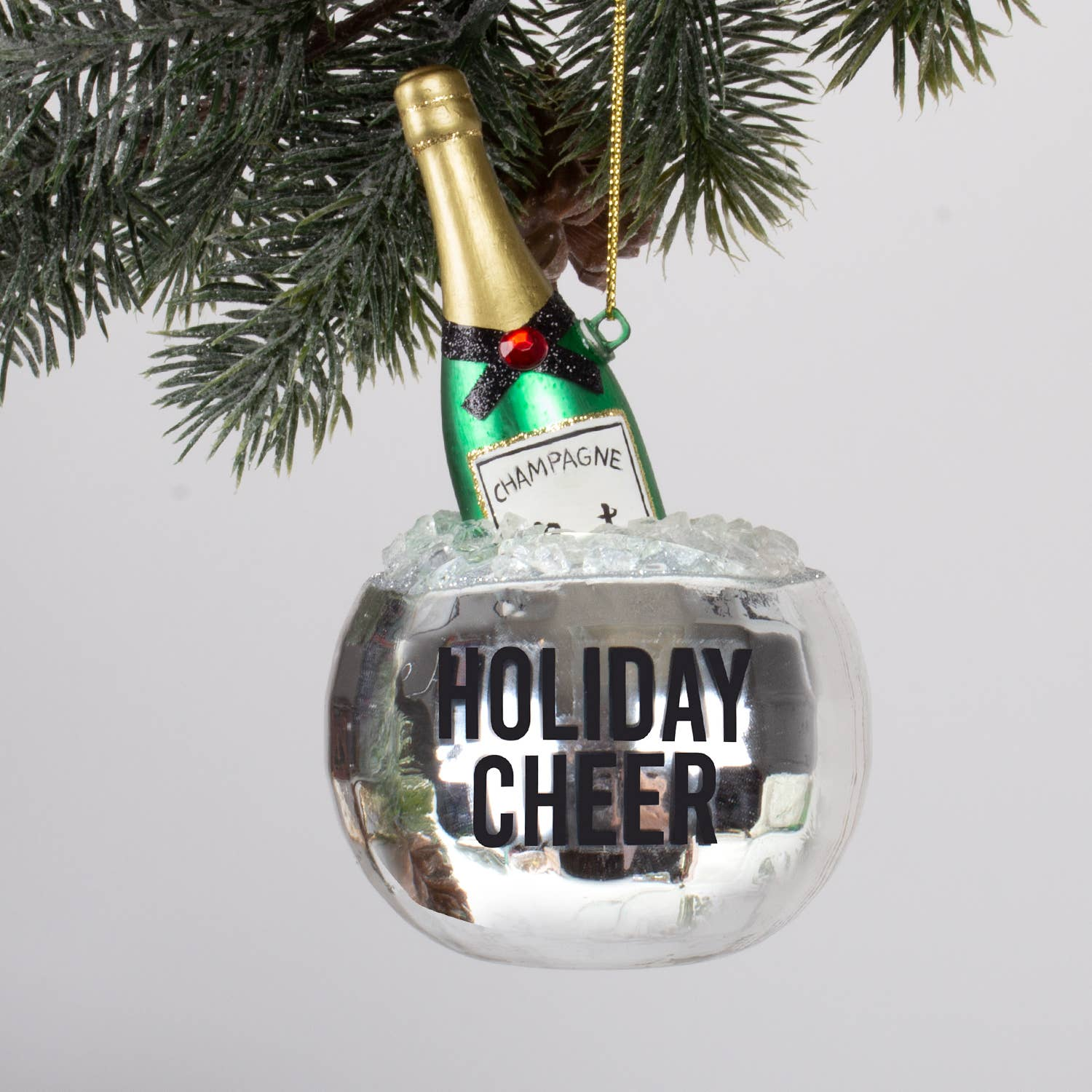 "The disco ball ice bucket and champagne bottle take you from Christmas all the way to New Years Eve. Add some holiday cheer to the holiday tree!  Made of glass. 6"" X 2.5"" X 2.5"" Comes in retro style gift box."