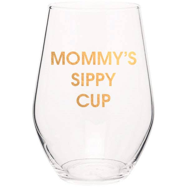 "Crush your wine in style with our ""Mommy's Sippy Cup"" gold foil stemless wine glass. Wine glasses are printed in Los Angeles.   19 oz. American made stemless wine glass Gold Foil Imprint Hand wash only"
