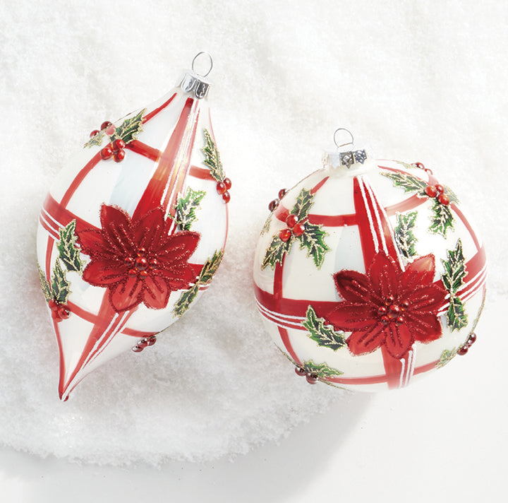 "These stunning red and white plaid ornaments are decorated with bright red poinsettias with red glitter and jewel accents! They're perfect to scatter throughout your Christmas tree, wreath, or garland!   Each sold individually. Made of glass.  Dimensions: 4""."