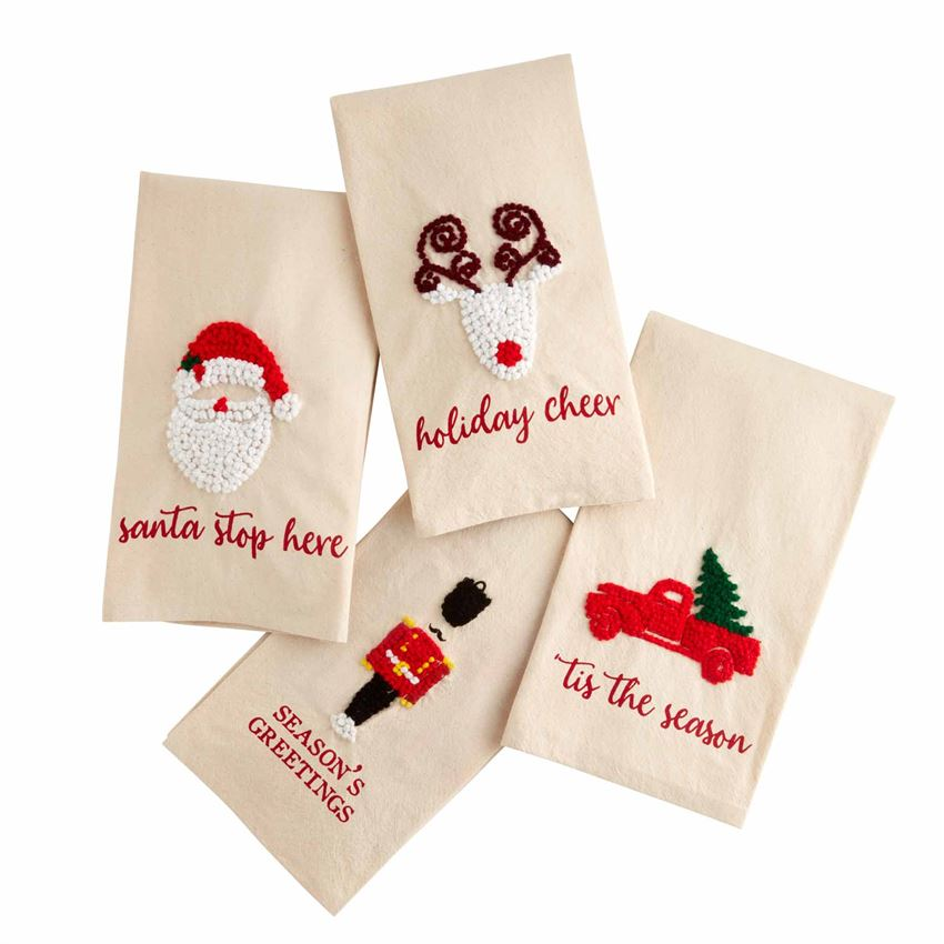 "Each towel features a hand knotted holiday icon with a sentiment. Choose from a reindeer, santa, nutcracker or holiday truck design. Add to your kitchen for a touch of holiday spirit. It also makes a great hostess gift!  Material: 100% Extremely Absorbent Cotton Measures: 26""x17.5"""