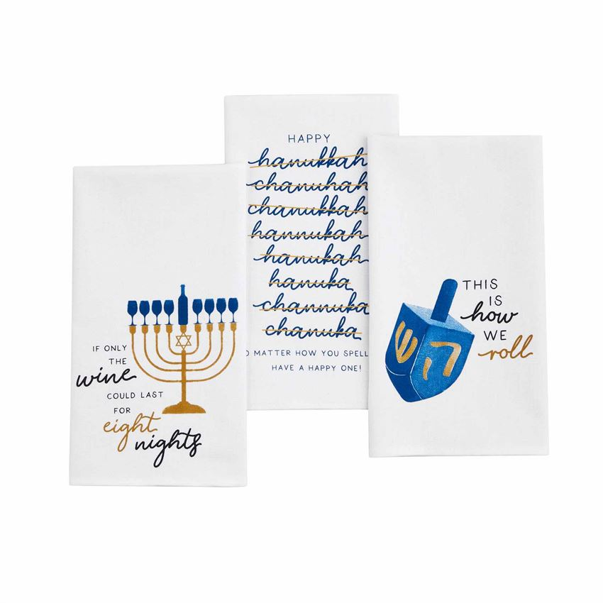 "Celebrate the season of light with these watercolor cotton hand towels featuring iconic holiday sentiments ""If Only The Wine Could Last Eight Nights"", ""No Matter How You Spell It"", ""This Is how We roll"", adds the perfect touch to any home for the Hanukkah.   Made from 100% extremely absorbent cotton. Size: 26"" x 16 1/2"""