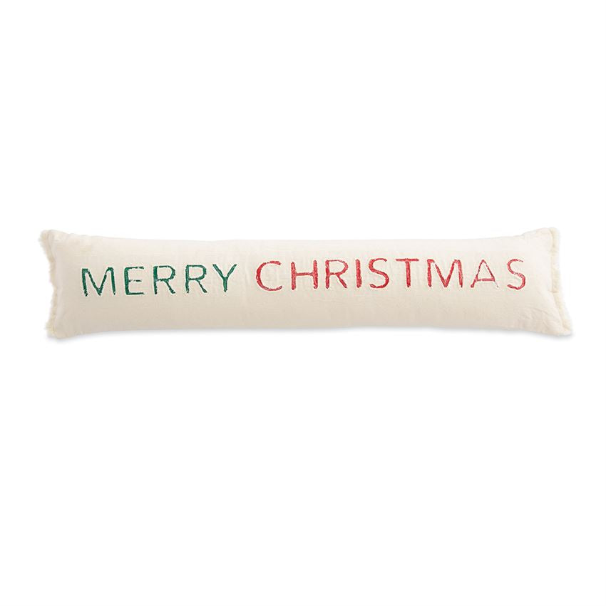 "Spread the merriment with this merry addition to the holiday home, our washed natural canvas pillow, featuring a long and skinny silhouette, contrast with washed canvas MERRY CHRISTMAS sentiment applique and frayed edge details will bring holiday joy to any room.   Dimensions: 7"" x 33"" Comes with zipper closure. Washed cotton canvas."