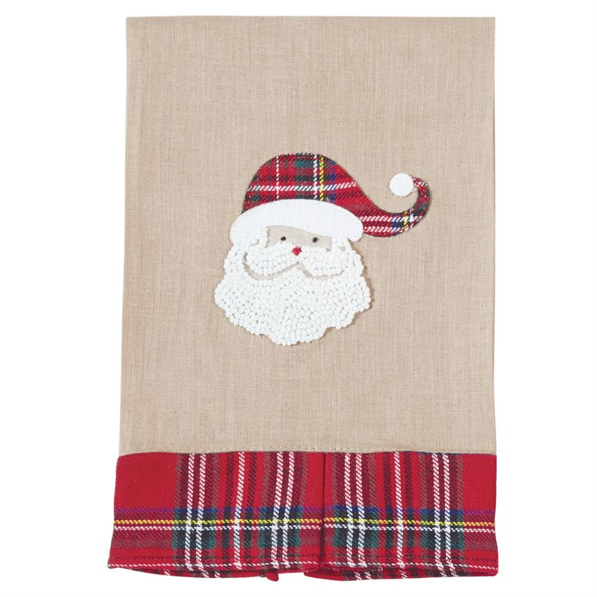 "Santa and plaid, two holiday favorites together on this linen hand towel. Features tartan pleated hem and hand-knotted French knot Santa with tartan hat applique and dimensional tartan pleated bottom.  Size: 21"" x 14"""