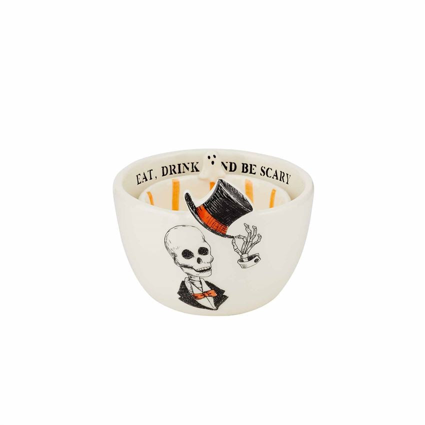 "2-piece set. Nested set of two dipping bowls feature debossed sentiment rims, hand-painted interior stripes and exterior icon artwork.  DETAILS: Size: small 2"" x 3 1/2"" dia 