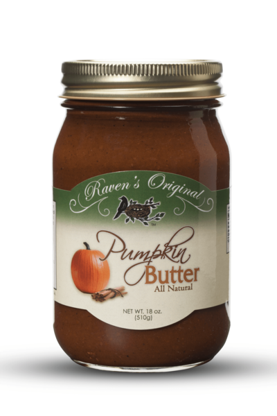 A fall favorite, our pumpkin butter from Raven's Original is a flavorful blend of pumpkin, spices and a hint of cinnamon. Made in small batches, our pumpkin butter is all natural, gluten and preservative free. This is a timeless classic your family will enjoy for years to come. It's delicious on its own or used as a recipe ingredient for all things pumpkin. Blend with cream cheese to make a dip and serve with green apples or gingersnaps; use as a warm topping for waffles and pancakes. 16 oz