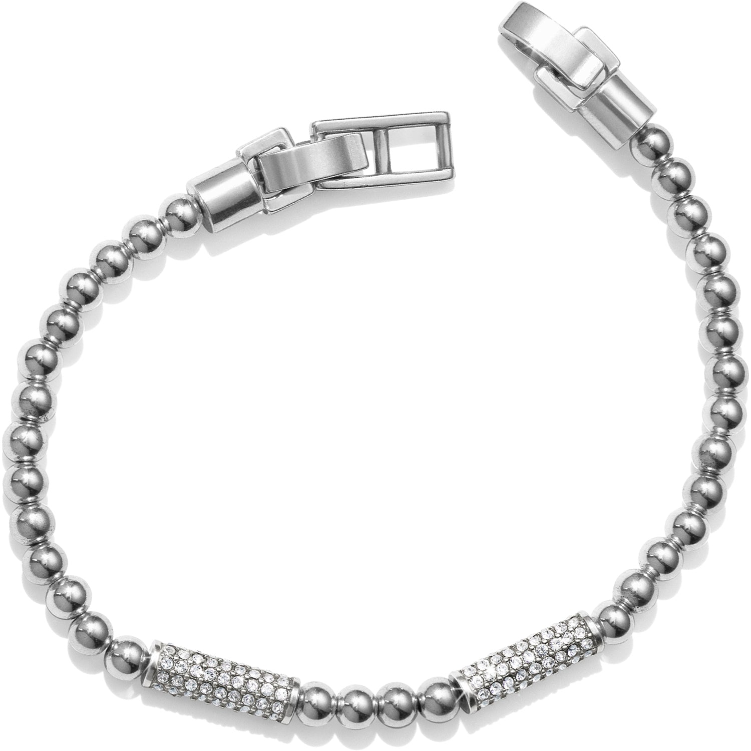 "On a ball chain bracelet, two Swarovski encrusted bars glimmer and sparkle, this Meridian Petite Stack Bar Bracelet is an easy choice.  Width: 1/8"" Closure: Fold over clasp Length: 7 1/4"" Material: Swarovski crystal Finish: Silver plated"