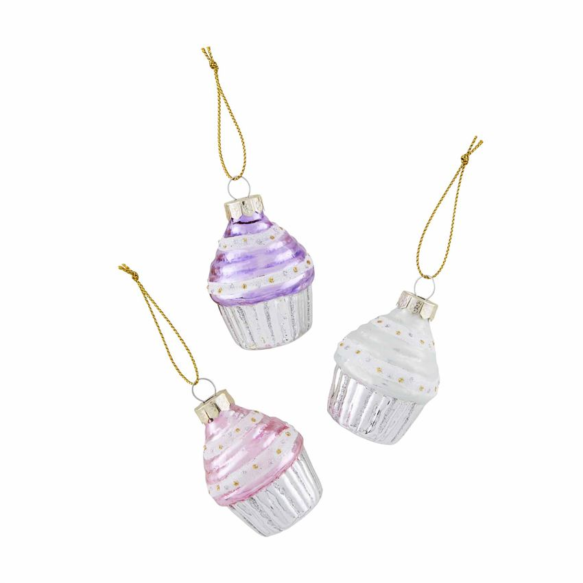 Dreaming of cupcakes and holiday fun!   Set of three glass ornaments featuring glitter details Imported