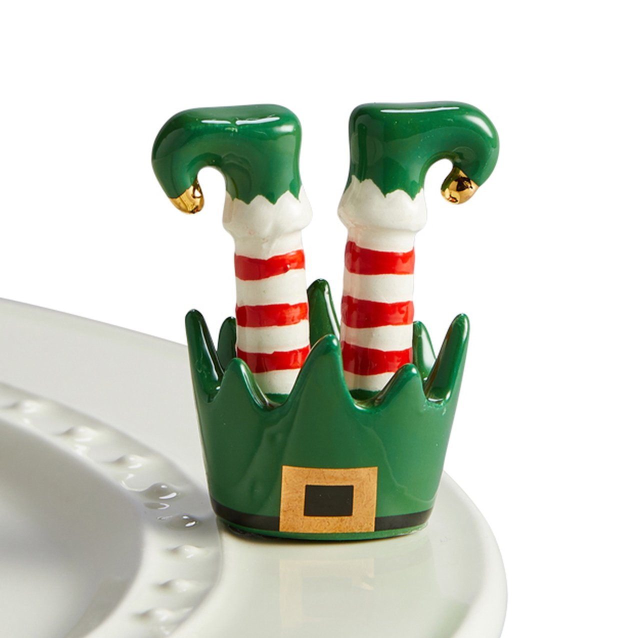 What's cuter than these little elf feet to celebrate the holidays?  not dishwasher safe hand wash only ceramic coordinates with all Nora Fleming pieces