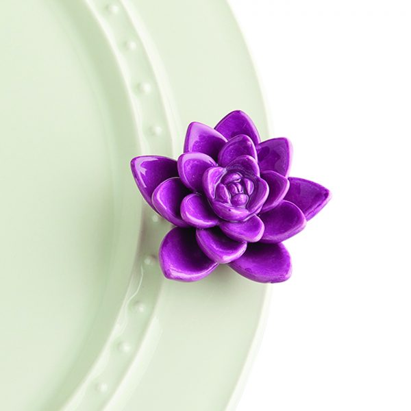 Nora Fleming Mini Get Growing – our vibrant purple succulent brings a touch of nature to your home! Perfect for an everyday addition to your favorite base piece.