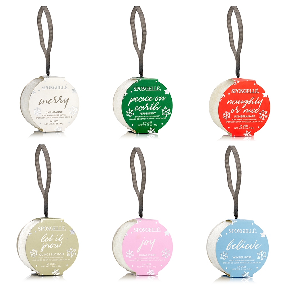 Celebrate your skin this season with Spongellé's giftable Body Wash Infused Holiday Ornaments. Perfect to hang as an ornament or give as a gift, these Body Wash Infused Buffers will cleanse, exfoliate, massage and nourish. All in one beauty treatment.   Choose from 6 holiday scents. Each sold individually.