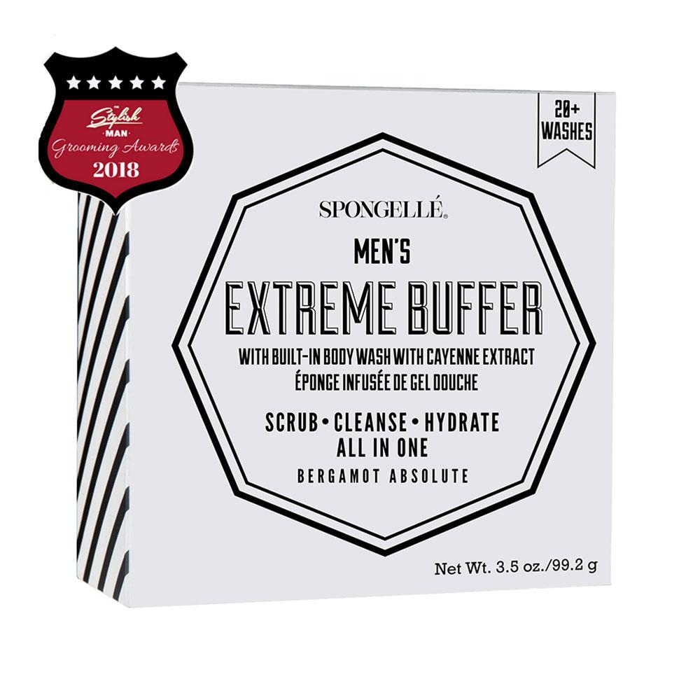 The Men's Extreme Buffer has a built-in body wash that will transform your shower experience. The invigorating scent of Bergamot Absolute is the perfect scent to kick-start your day, take to the gym or to refresh in the evenings. Enriched with cayenne pepper extracts to help boost circulation and make your skin feel smooth and clean shower after shower. This All In One Men's Treatment will cleanse, scrub and hydrate for 14+ washes.