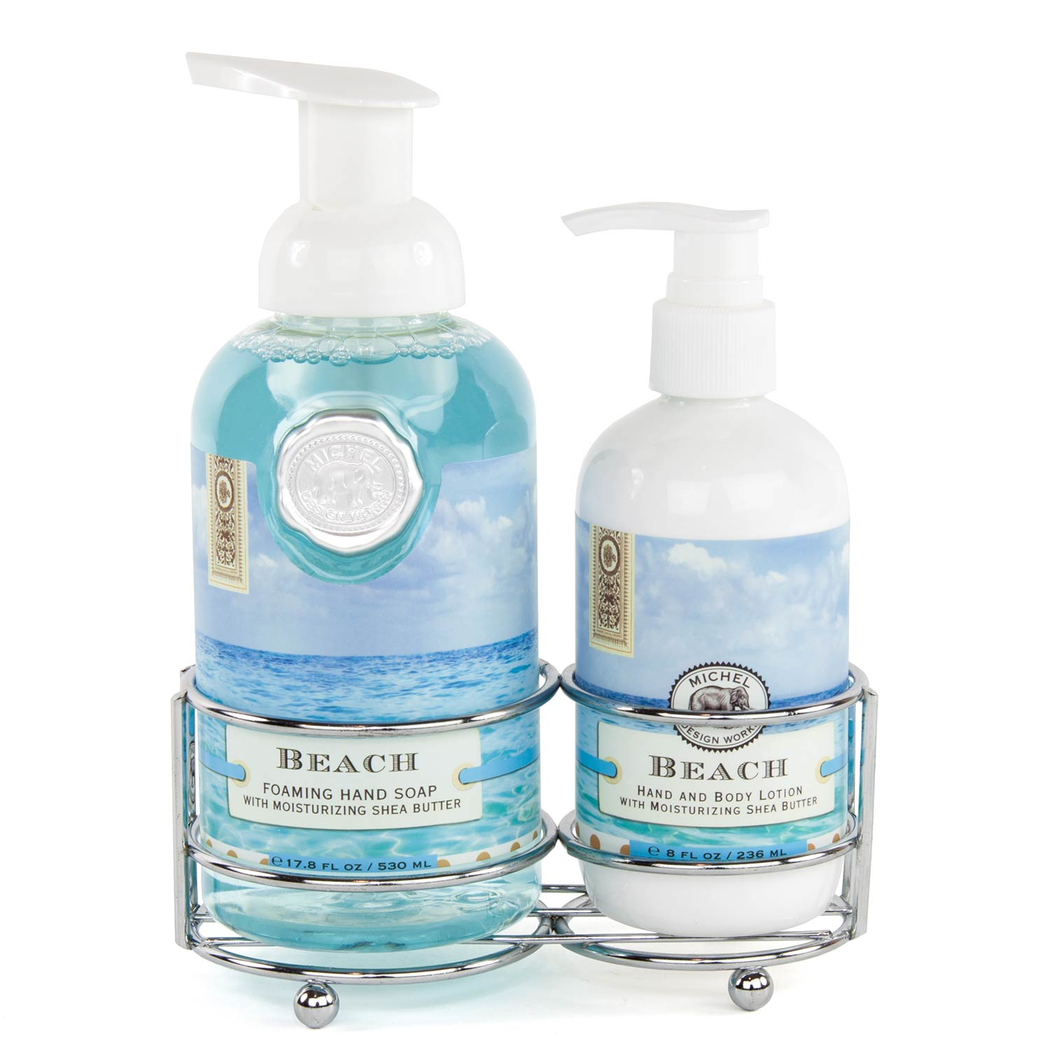 Beach brings compelling marine notes with hints of bergamot, amber, and watermelon. Our silver-toned handcare caddy includes our popular foaming hand soap and rich hand and body lotion together in one convenient holder. Foamin Hand Soap: 17.8 fl. oz. /530 ml liquid. Lotion: 8 fl. oz. /236 ml liquid. Fragrance: Compelling marine notes with hints of bergamot, amber, and watermelon.