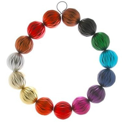 "Single ball rainbow wreath.   Approximately 17.5"" diameter"