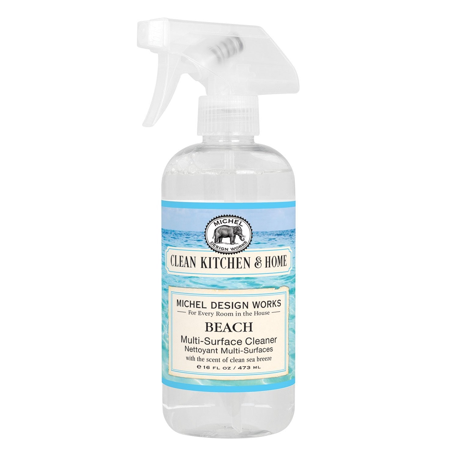 Who wouldn't love the scent of a clean sea breeze in our ever-popular Beach? Now it's here in a spray-on cleaner you can't do without! It removes grease, grime, and dirt from a wide variety of water-safe surfaces, and leaves a lovely fragrance behind.  16 fl. oz. / 473 ml Fragrance: Compelling marine notes with hints of bergamot, amber and watermelon.