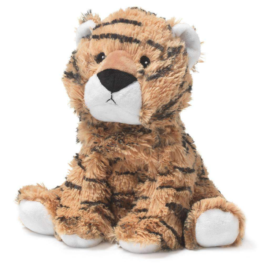 The Warmies Tiger is a fun, fully microwavable stuffed animal made from luxurious soft plush.  Entirely safe to hold right after heating. The Calico Cat is gently scented with French lavender that is carefully sourced from local growers in Provence.