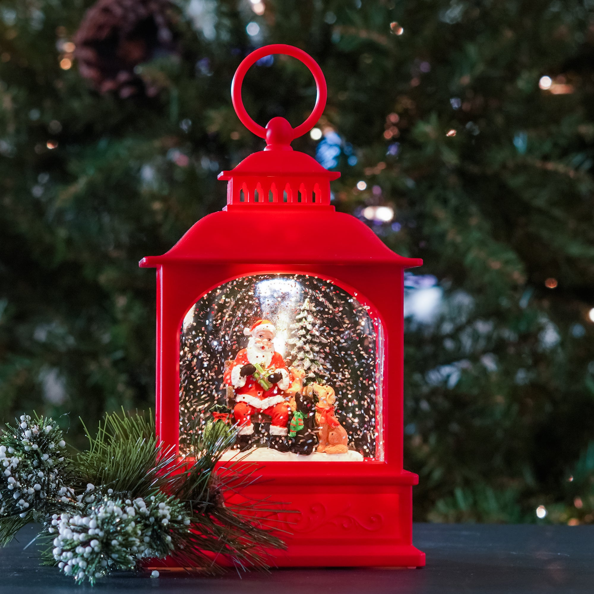 This adorable scene of Santa visiting with a group of four legged friends is a holiday lantern favorite. This will be a treasured holiday decoration for years to come. A great holiday gift for any dog lover!